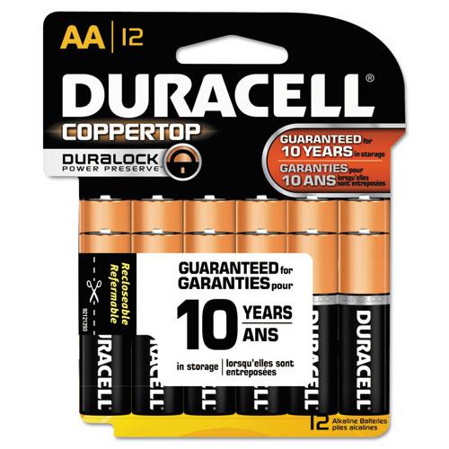 Duracell CopperTop Alkaline Batteries, AA, 12/Pk