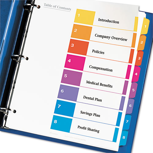 Avery 8 Tab Assorted Dividers
