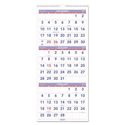 At-A-Glance Vertical Three-Month Wall Calendar